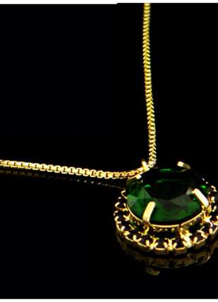 Corrente com pingente verde 45 cm semi joia - fator 1871