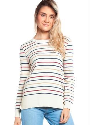 Blusa ralm listras coloridas - off white