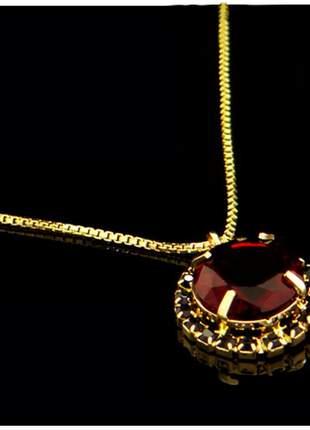 Corrente com pingente vermelha 45 cm semi joia - fator 1871