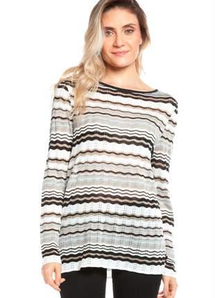 Blusa ralm listras em zig-zag - branco