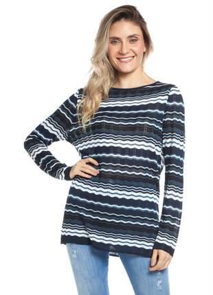 Blusa ralm listras em zig-zag - azul marinho
