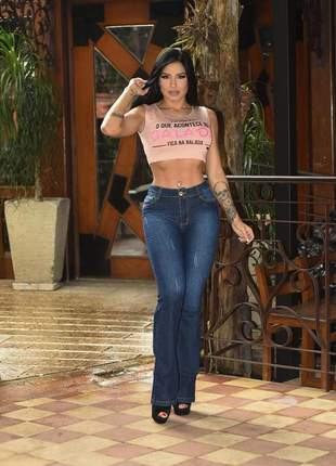 Calça jeans flare 3% elastano - realça curvas