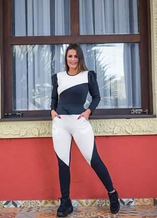 Conjunto feminino calça e blusa moletinho