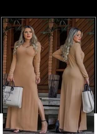 Vestido longo com bolso