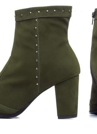 Bota feminina cano curto verde