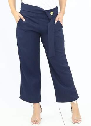 Calça feminina pantalona azul marinho