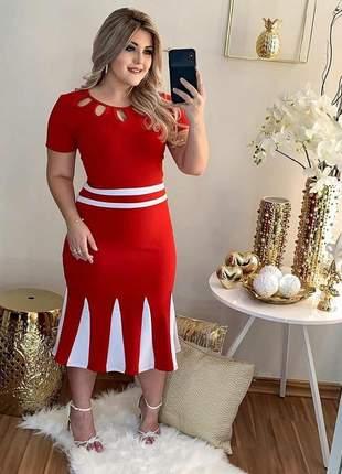 Vestido midi vermelho com branco elegante moda evangélica manguinha coleção inverno