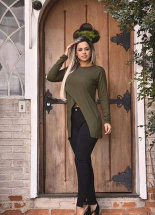 Blusa feminina capa vest bata manga longa