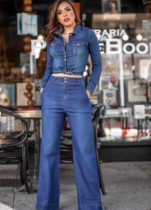 Calça pantalona camisa social jeans