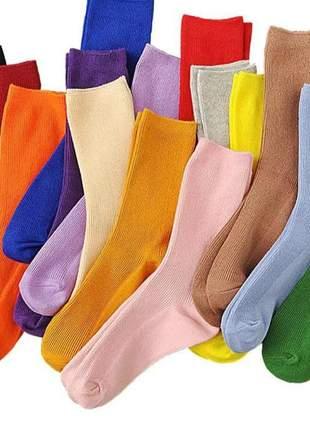 Kit 6 meias lã felpuda feminina colors frio