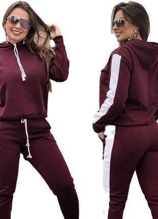 Conjunto moletom feminino marsala blusa e calça moda inverno