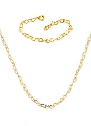 Conjunto: pulseira coração + colar de coração 45cm banhado a ouro 18k - con007