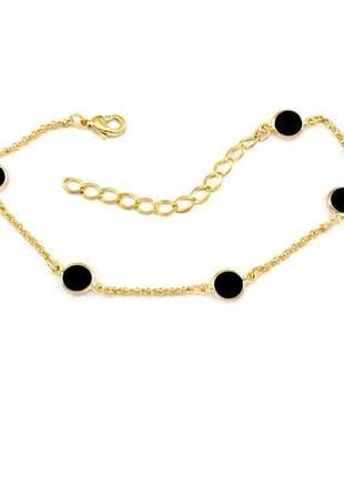 Pulseira estilo tiffany acrílico preto banhado a ouro 18k - pul014