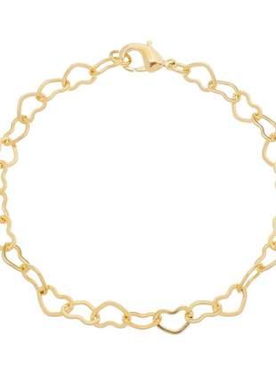 Pulseira de coração entrelaçado banhado a ouro 18k - pul011