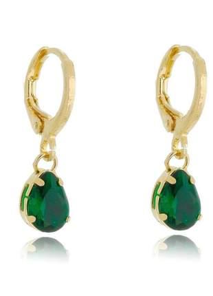 Brinco de argolinha com cristal verde banhado a ouro 18k - bri015