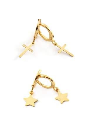 Kit com 2 brincos de argolinha (estrela e crucifixo) banhado a ouro 18k - kitbri006