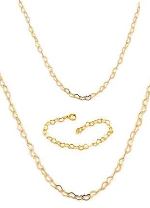 Conjunto: pulseira coração + colar de coração 45cm + 80cm banhado a ouro 18k - con006