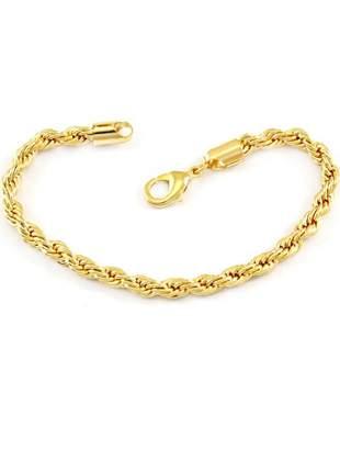 Pulseira cordão baiano 3mm banhado a ouro 18k - pul004