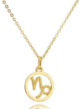 Colar veneziana 45cm + pingente signo capricórnio banhado a ouro 18k - col026