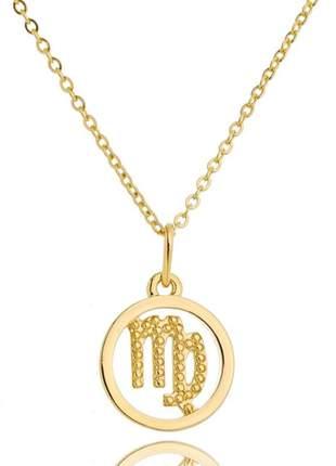 Colar veneziana 45cm + pingente signo virgem banhado a ouro 18k - col034
