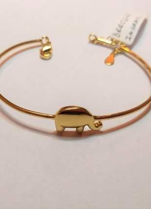 Bracelete infantojuvenil elefante semijoia gazin