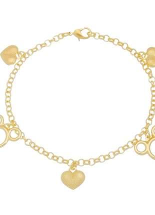 Pulseira mickey com berloque de coração banhado a ouro 18k - pul020