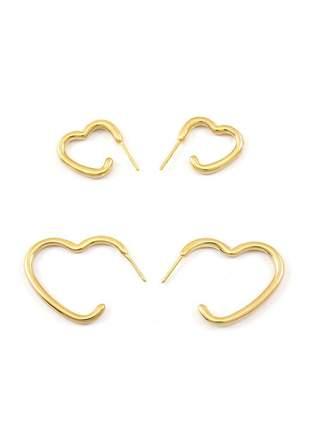 Kit com 2 brincos argola de coração banhado a ouro 18k - kitbri005