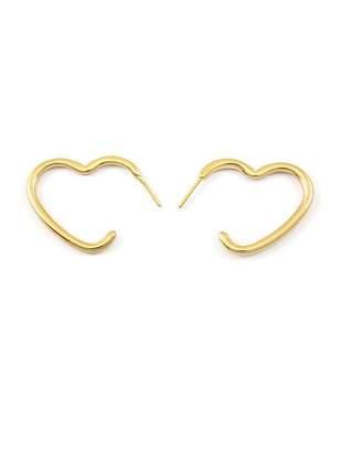 Brinco de coração médio banhado a ouro 18k - bri019