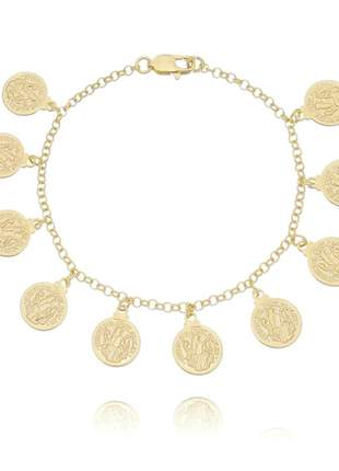 Pulseira medalha de são bento banhado a ouro 18k - pul019