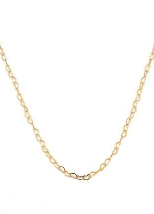 Colar corações entrelaçados 45cm banhado a ouro 18k - col011