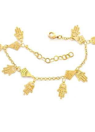 Pulseira mão de fátima banhado a ouro 18k - pul018