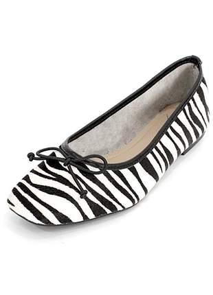 Sapatilha couro dali shoes animal print zebra bico quadrado e lacinho