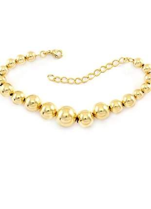 Pulseira de bolas em degradê banhado a ouro 18k - pul007
