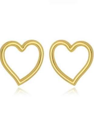 Brinco de coração vazado banhado a ouro 18k - bri021