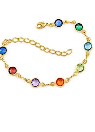 Pulseira estilo tiffany colorida banhado a ouro 18k - pul015
