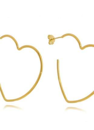 Brinco argola de coração banhado a ouro 18k - bri003