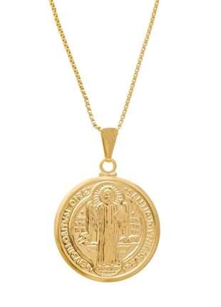 Colar com pingente medalha de são bento banhado a ouro 18k - col009