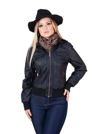Jaqueta de couro moda feminina bolsos frontais capuz forrada  g1 ao g4