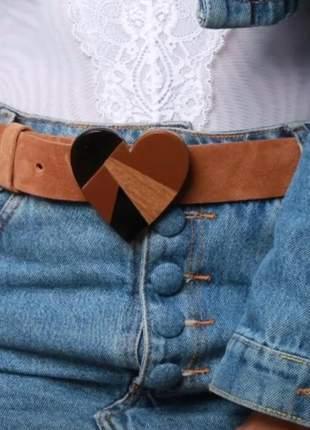 Cinto feminino coração couro legítimo camurça moda blogueira super lançamento