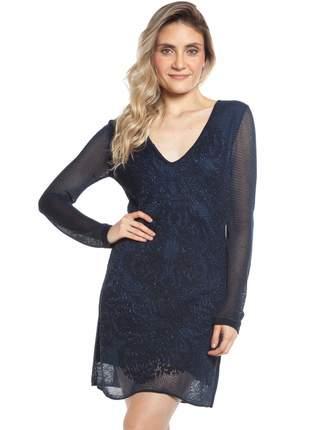 Vestido ralm manga longa tricot rendado - azul marinho