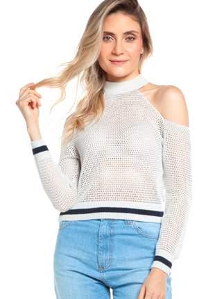 Blusa ralm tricot rendado com ombros vazados - branco