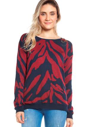 Blusa ralm manga longa zebra - azul marinho c/ vermelho