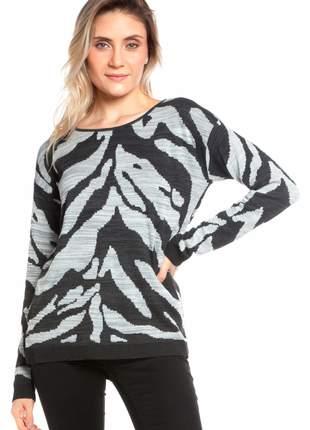 Blusa ralm manga longa zebra - preto c/ cinza
