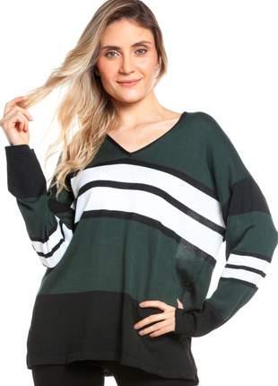Blusa ralm manga longa listras - verde