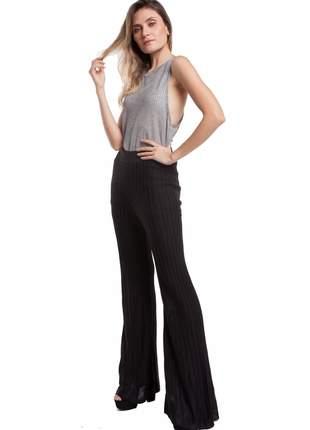 Calça ralm cintura alta plissê - preto