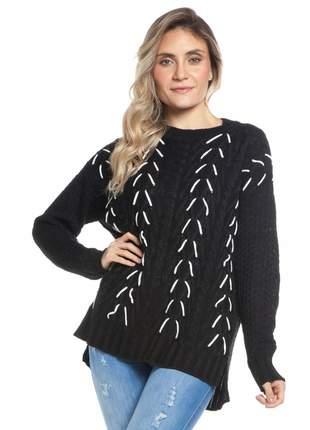 Blusa ralm tricot tramado - preto