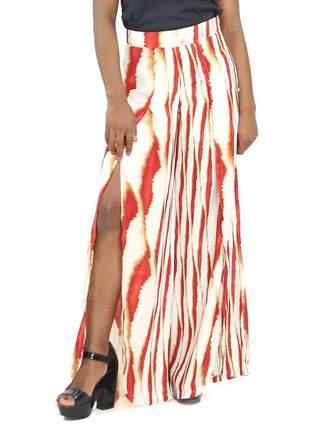 Calça feminina pantalona com fenda estampa vermelha