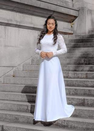 Vestido feminino longo casamento civil noiva festa madrinha