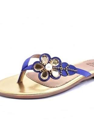 Chinelo maria isabel com enfeite de flor azul 40 41 42 #chinelo lindo