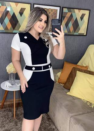 Vestido midi tubinho bicolor luxo moda evangelica